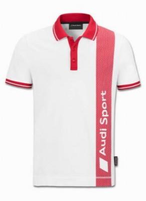 Poloshirt Audi Sport, rot/weiß