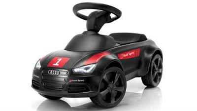 Audi Junior Quattro, Bobby Car Motorsport, schwarz mit LED Beleuchtung