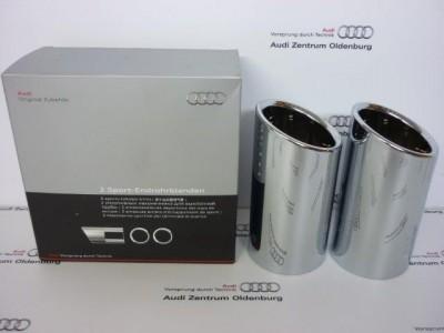 Audi A1 /A3 Endrohrblende/Auspuffblende, doppelt, schwarz/chrom, 8P0071761B