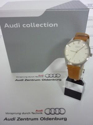 Audi Damenuhr silber/braun