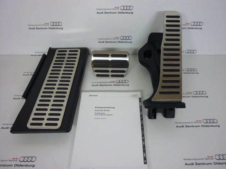 audi q3 pedalkappen set edelstahl f r automatik s tronic. Black Bedroom Furniture Sets. Home Design Ideas