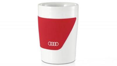 Audi Becher, 2er Set in rot/weiss