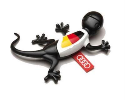 Audi Duftspender, Duftgecko schwarz im Deutschland Trikot, WM Gecko