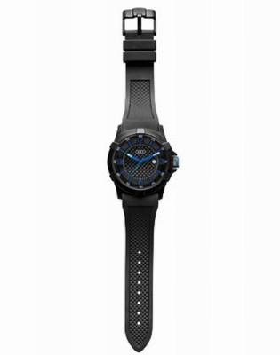 Audi Uhr schwarz/blau